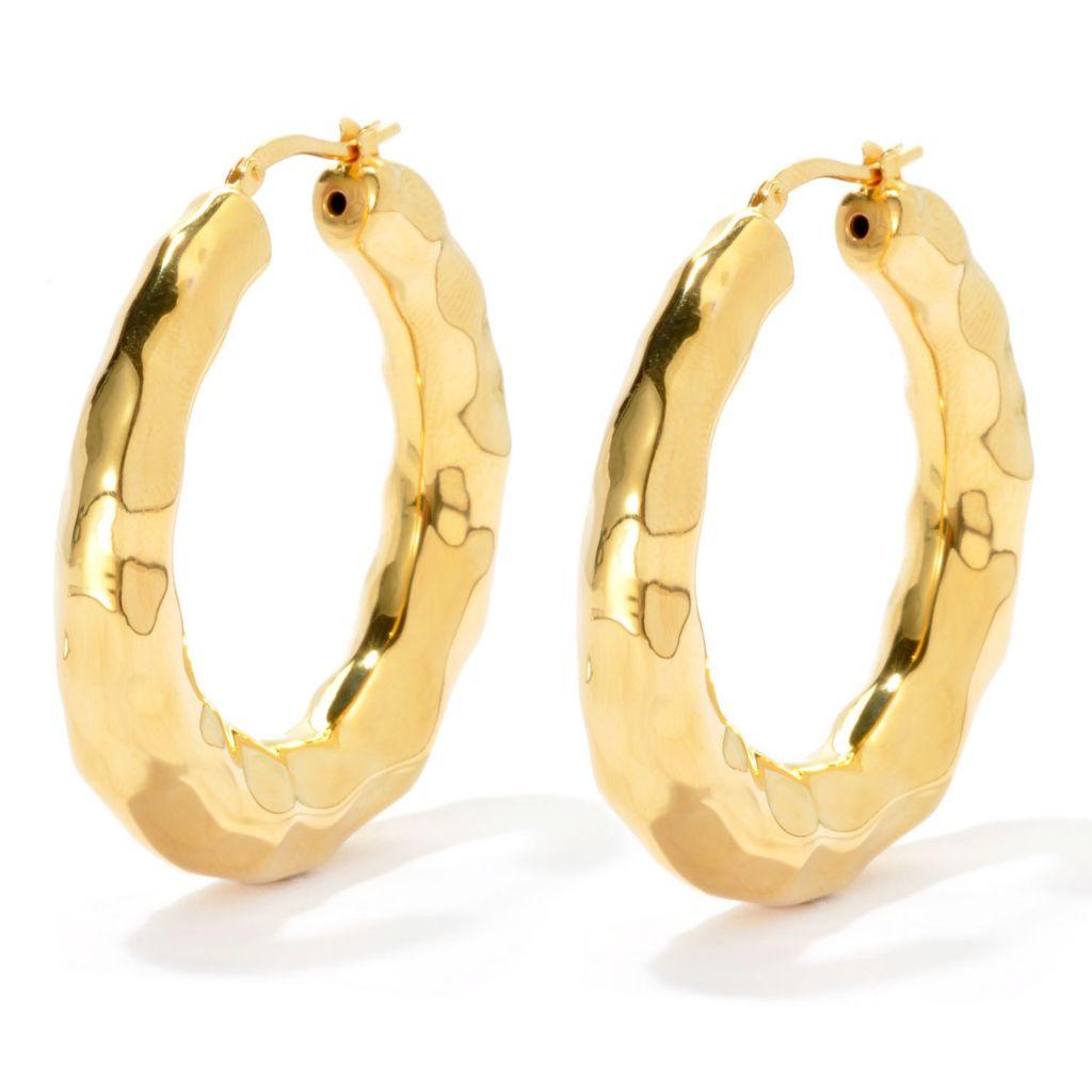 "134-815 - Toscana Italiana Gold Embraced™ 1.5"" Hammered Hoop Earrings"