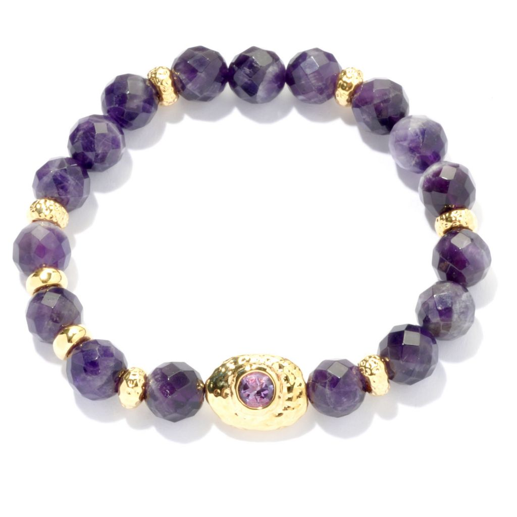 "134-818 - Toscana Italiana 18K Gold Embraced™ 7.25"" 10mm Amethyst Bead Stretch Bracelet"