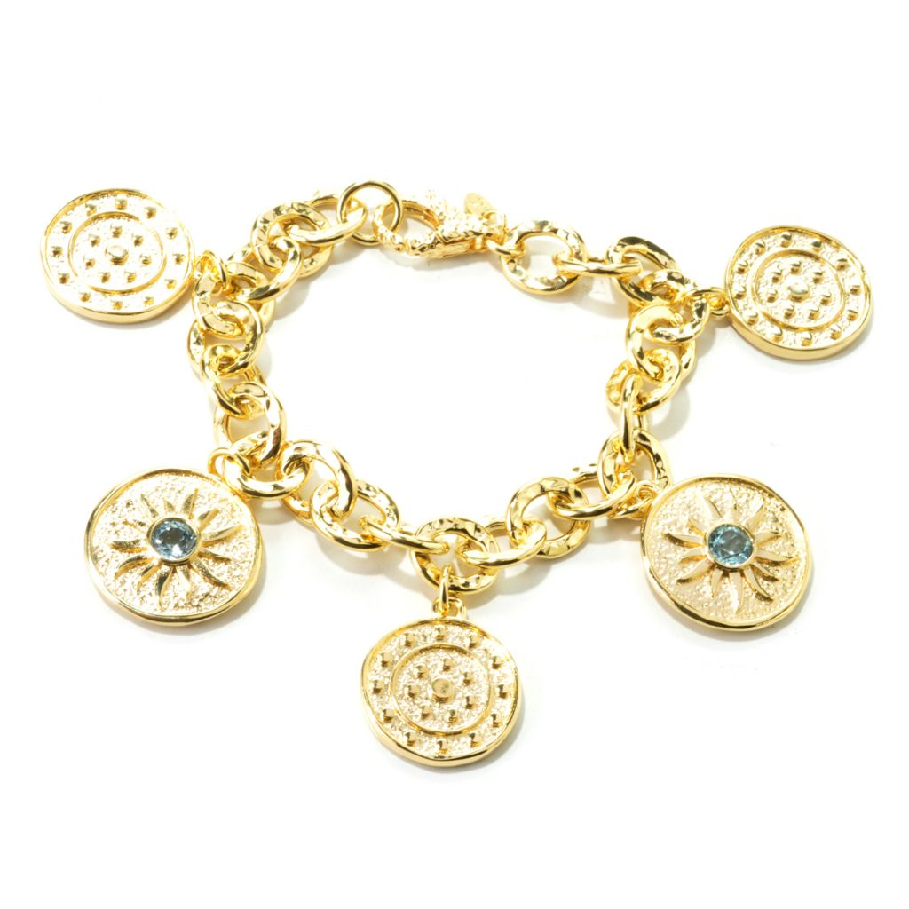 "134-820 - Toscana Italiana 18K Gold Embraced™ 8"" Gemstone Hammered Link Charm Bracelet"