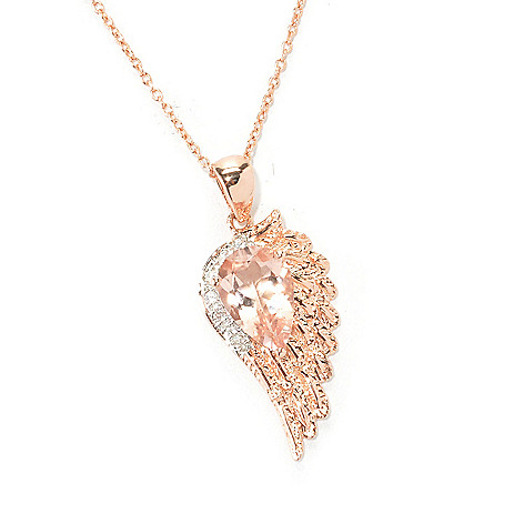 134-821 - NYC II 2.67ctw Morganite & White Zircon Angel Wing Pendant w/ 18'' Chain