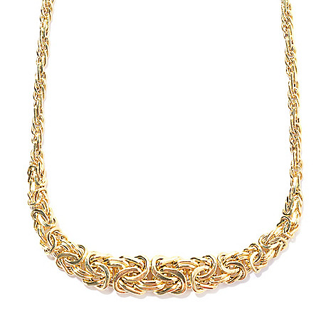 134-822 - Italian Designs with Stefano 14K Gold 18.25'' Graduated Byzantine Necklace