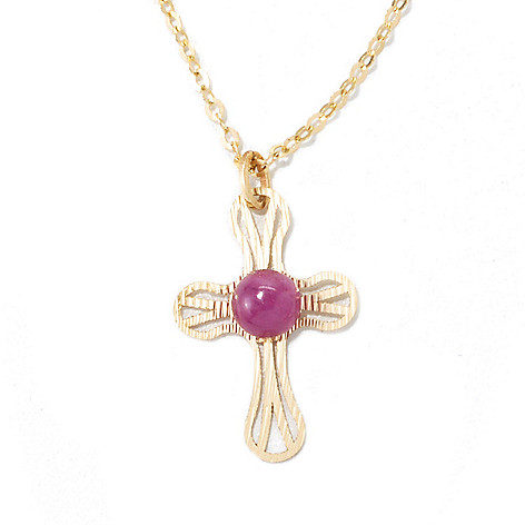 134-830 - Italian Designs with Stefano 14K Gold 18'' 4mm Ruby Cross Drop Necklace