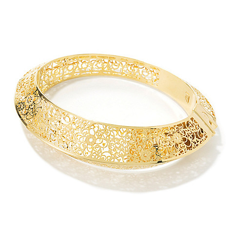 134-840 - Italian Designs with Stefano 14K Gold 6.75'' Filigree Hinged Bangle Bracelet