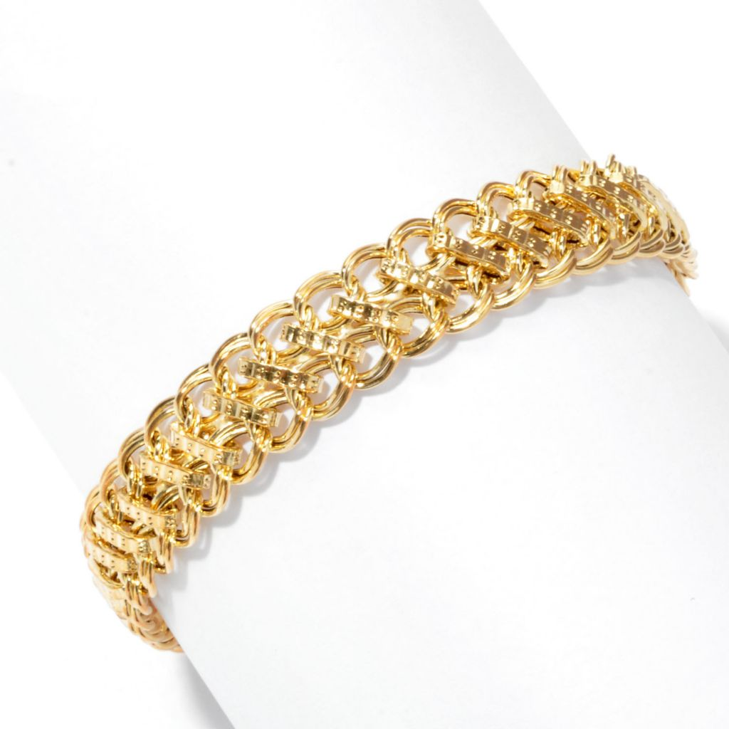 "134-847 - Italian Designs with Stefano 14K Gold 7.5"" Fancy Chain Link Bracelet"