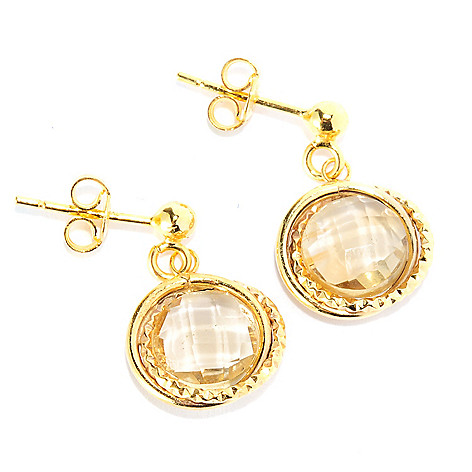 134-856 - Italian Designs with Stefano 14K Gold 2.74ctw Citrine Textured Drop Earrings