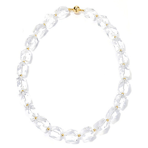 134-859 - Portofino 18K Gold Embraced™ 21.75'' 18 x 14mm Quartz Necklace w/ Magnetic Clasp