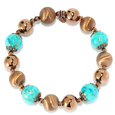 134-861 - Portofino 18K Gold Embraced™ 8'' 12mm Turquoise, Polished & Brushed Bead Bracelet