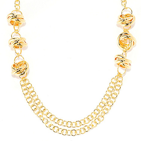 134-862 - Portofino 18K Gold Embraced™ 22'' Polished Status Link Station Necklace