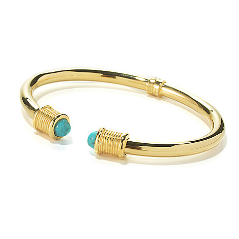134-863 - Portofino 18K Gold Embraced™ 7'' Turquoise End Cap Hinged Cuff Bracelet