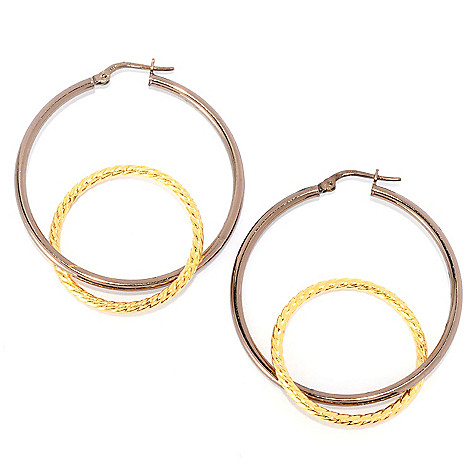 134-866 - Portofino 18K Gold Embraced™ 1.75'' Polished Interlocking Hoop Earrings