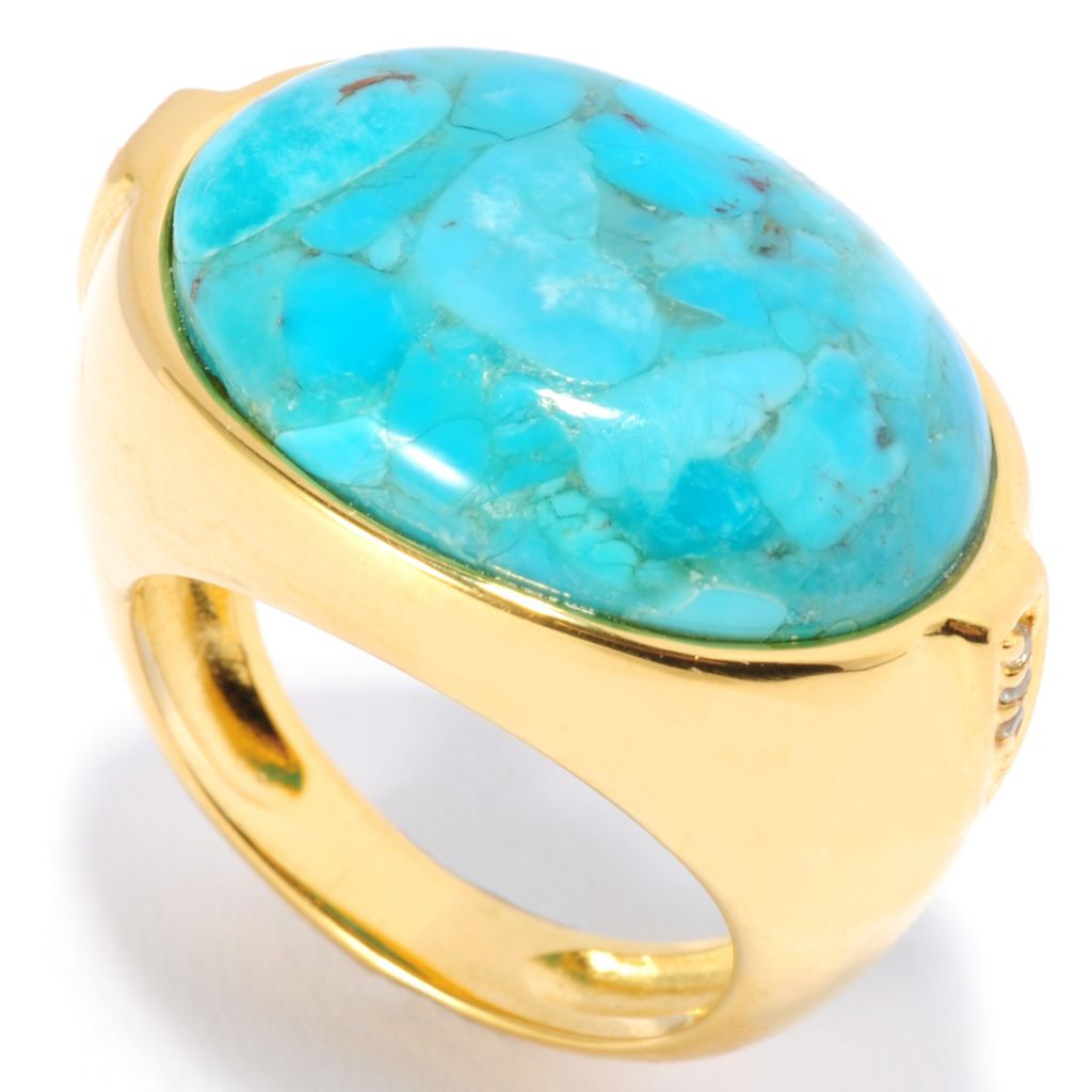 134-876 - Portofino 18K Gold Embraced™ 20 x 15mm Oval Turquoise & White Topaz Ring