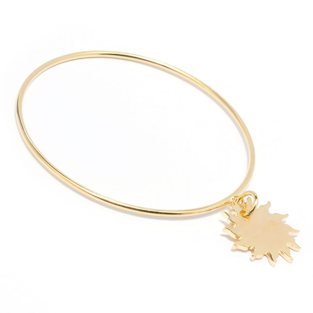 "134-883 - Portofino 18K Gold Embraced™ 8"" Slip-on Bangle Bracelet w/ Celestial Charm"
