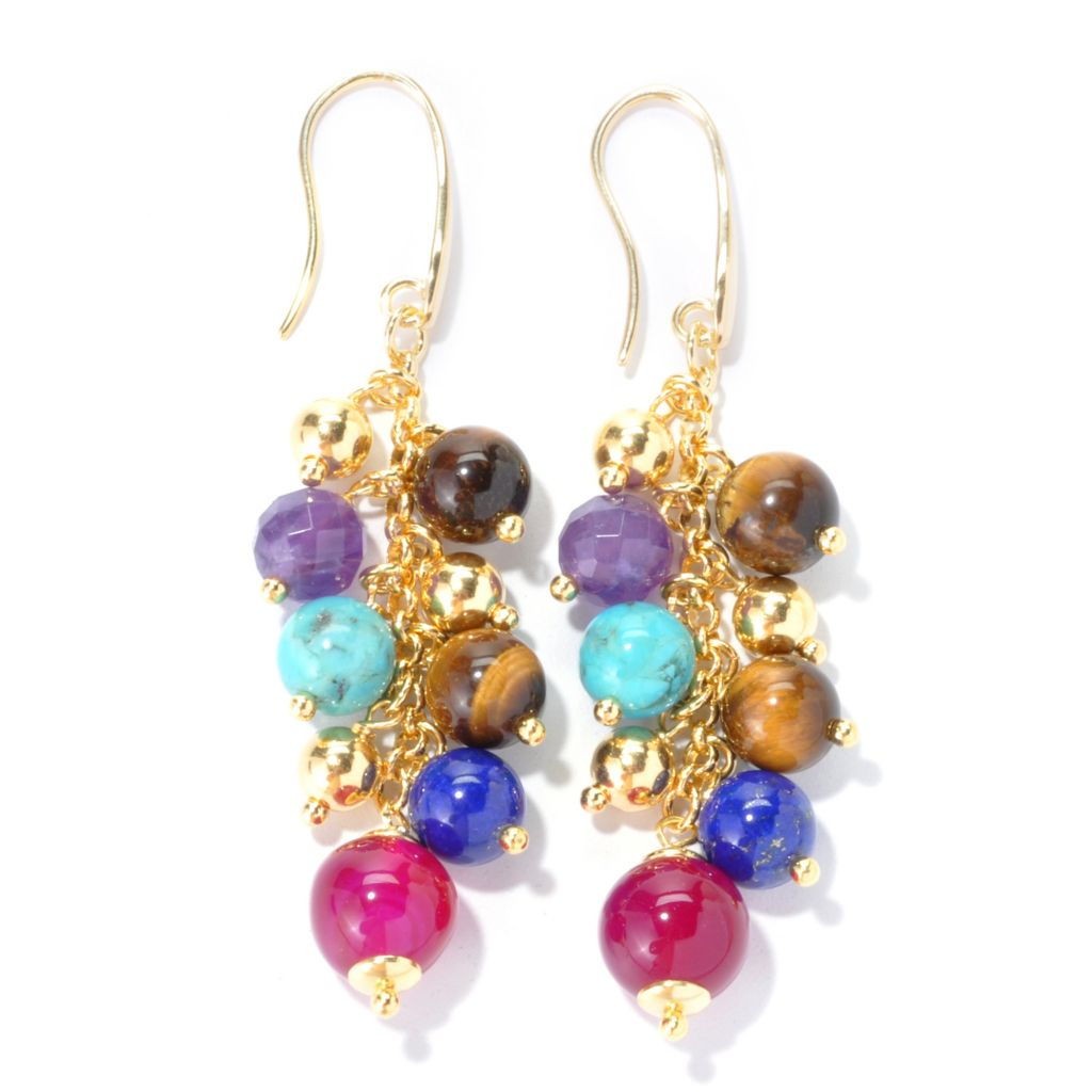 "134-885 - Portofino 2.75"" Round Multi Gemstone & Polished Bead Dangle Earrings"