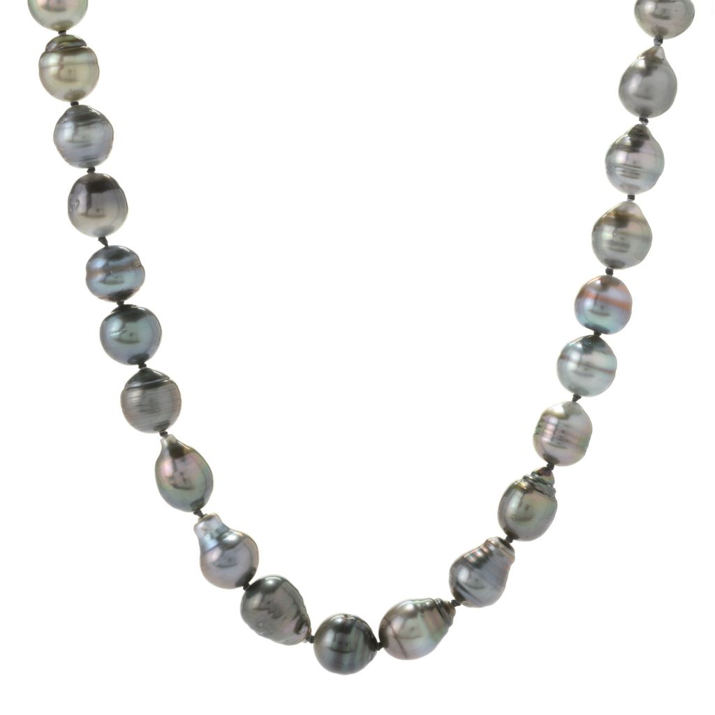 "134-895 - Sterling Silver 24"" 9-10mm Tahitian Cultured Pearl Circle Necklace"