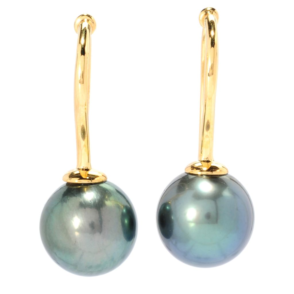 "134-900 - 1.25"" 13-14mm Black Tahitian Cultured Pearl French Hook Earrings"