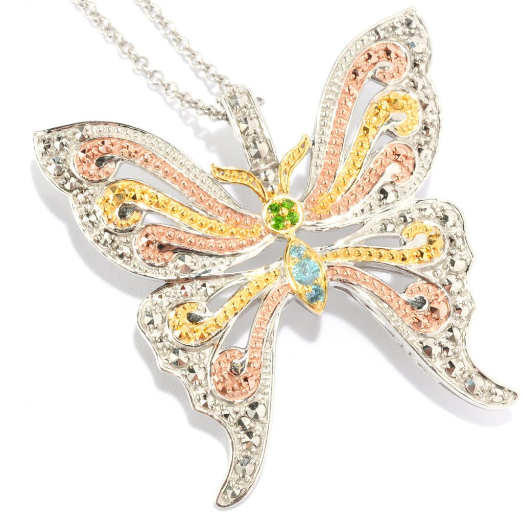 134-906 - Dallas Prince Multi Gemstone Butterfly Pendant Made w/ Swarovski® Marcasite