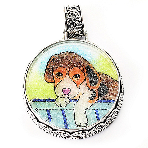 134-911 - Artisan Silver by Samuel B. Swiss Blue Topaz & Crushed Multi Gemstone Dog Pendant