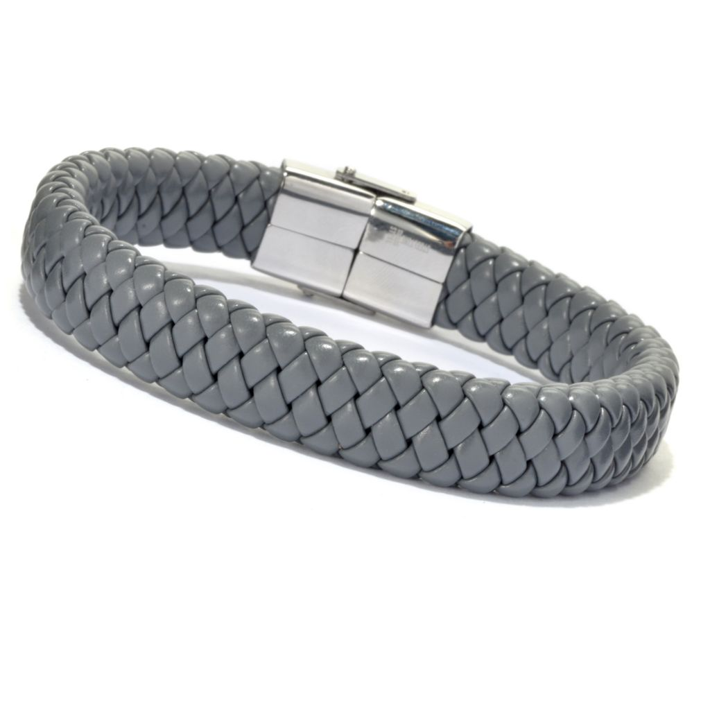 134-923 - Steeltime Men's Braided Leatherette Bracelet