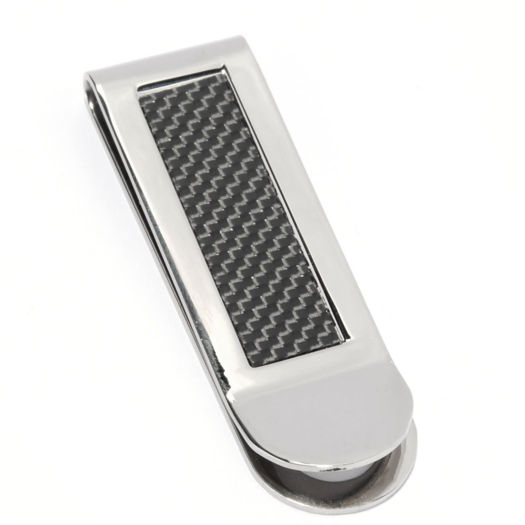 134-927 - Steeltime Men's Stainless Steel Polished & Mesh Patterned Money Clip
