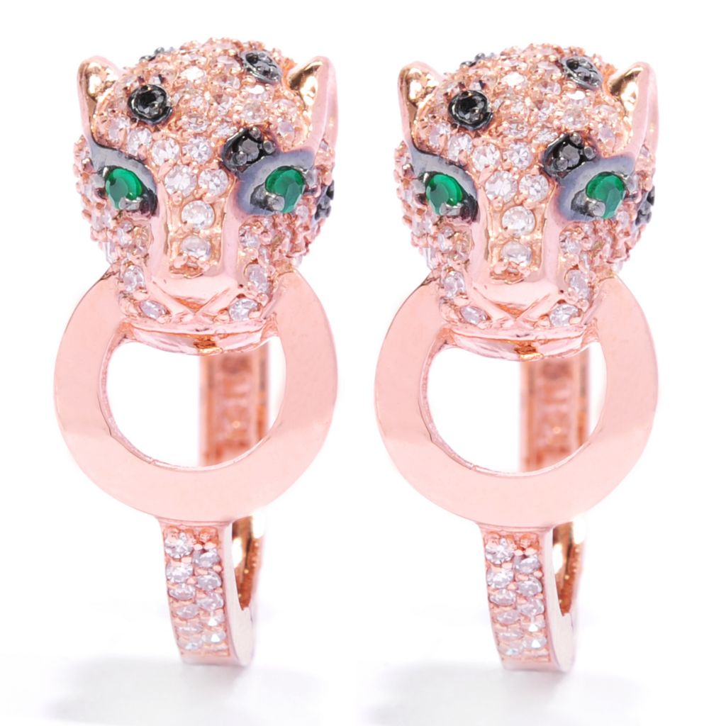 134-953 - EFFY 14K Rose Gold Emerald & Multi Diamond Panther Earrings