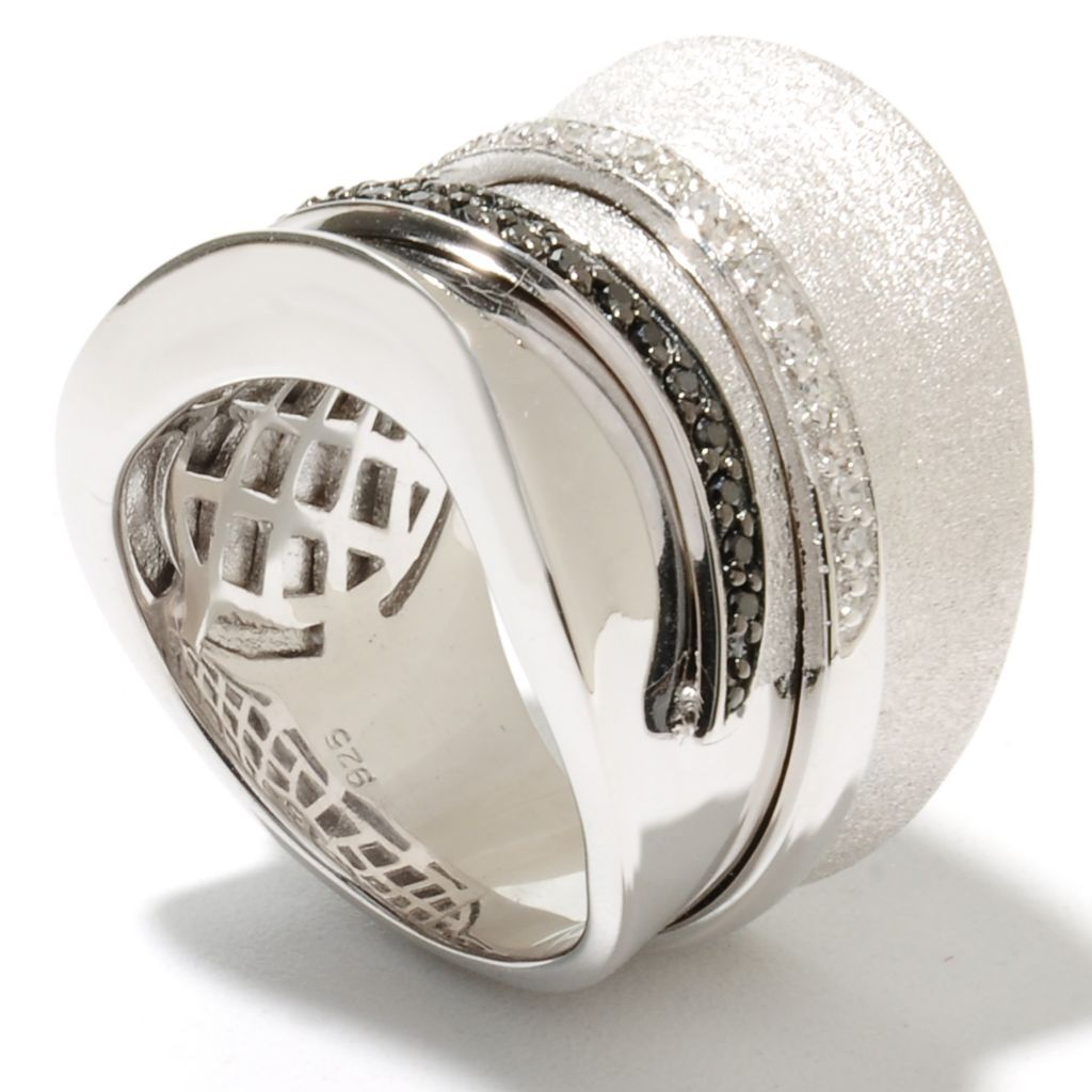 134-977 - Effy Sterling Silver 0.42ctw Black & White Diamond Balissima Wide Band Ring