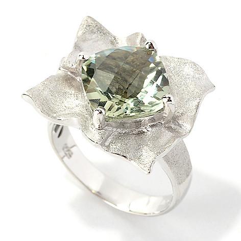 134-978 - Effy Sterling Silver 3.30ctw Square Prasiolite Balissima Ring