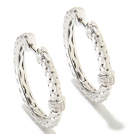 134-979 - Effy Sterling Silver 1'' 0.07ctw Diamond Woven Balissima Hoop Earrings