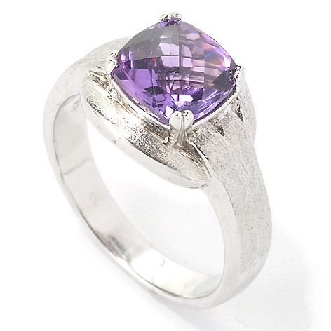 134-991 - Effy Sterling Silver 2.00ctw Cushion Cut Amethyst Balissima Ring