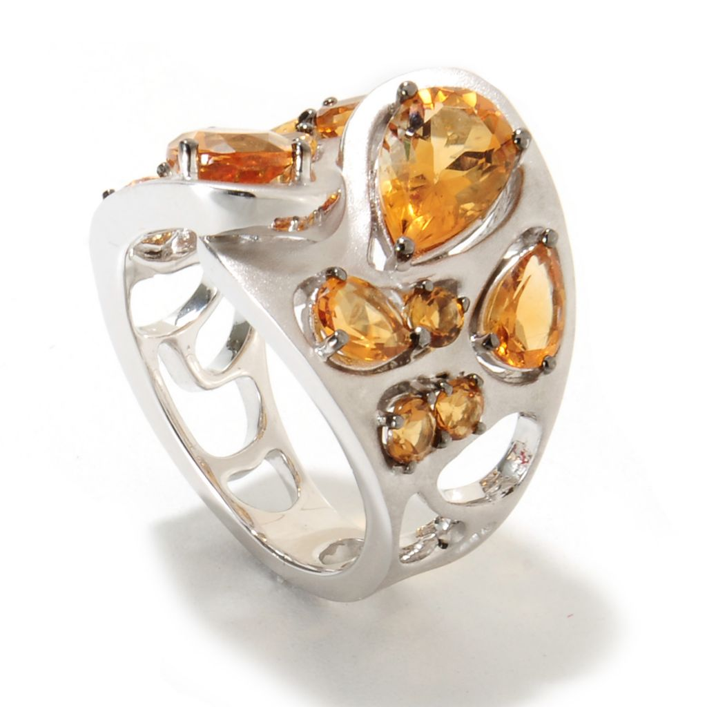 134-993 - Effy Sterling Silver 4.13ctw Citrine Balissima Wide Band Ring