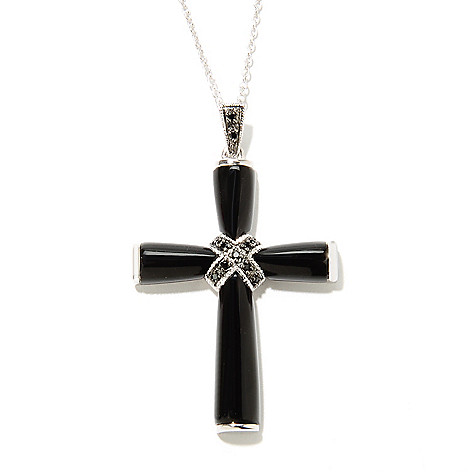 135-019 - Gem Treasures Sterling Silver 35 x 25mm Black Agate & Spinel Cross Pendant