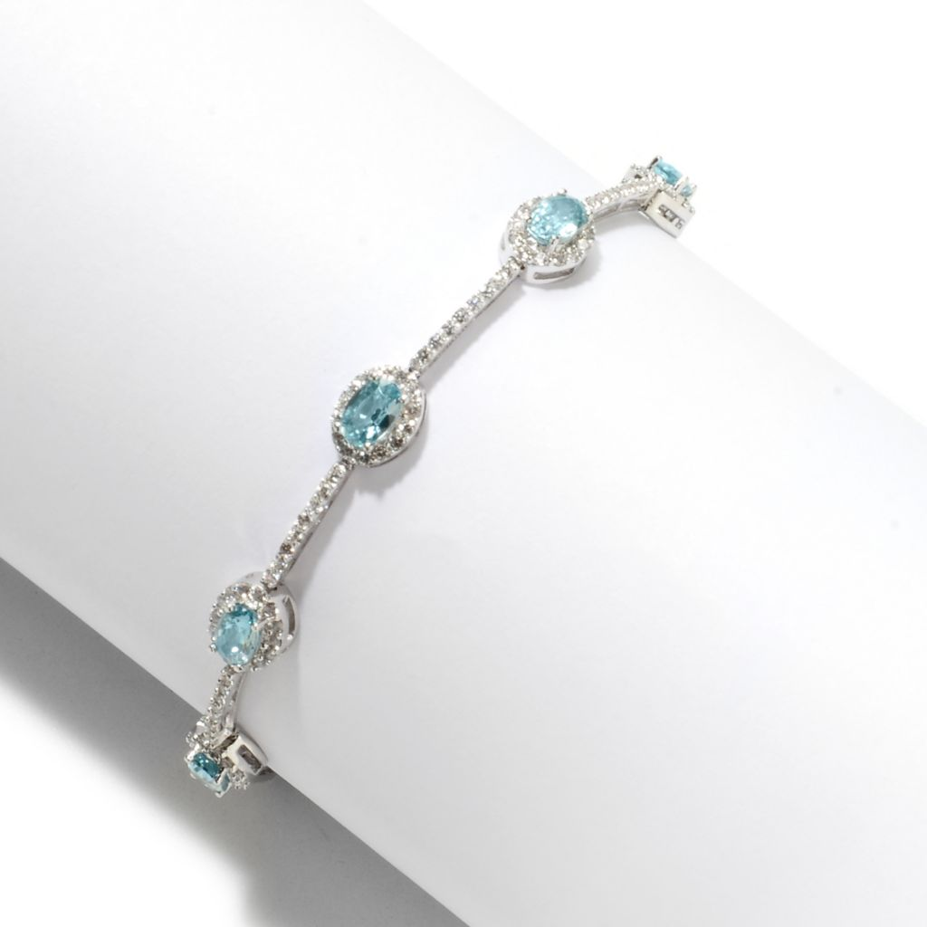 135-021 - Gem Treasures Sterling Silver 6.35ctw White & Blue Zircon Halo Line Bracelet