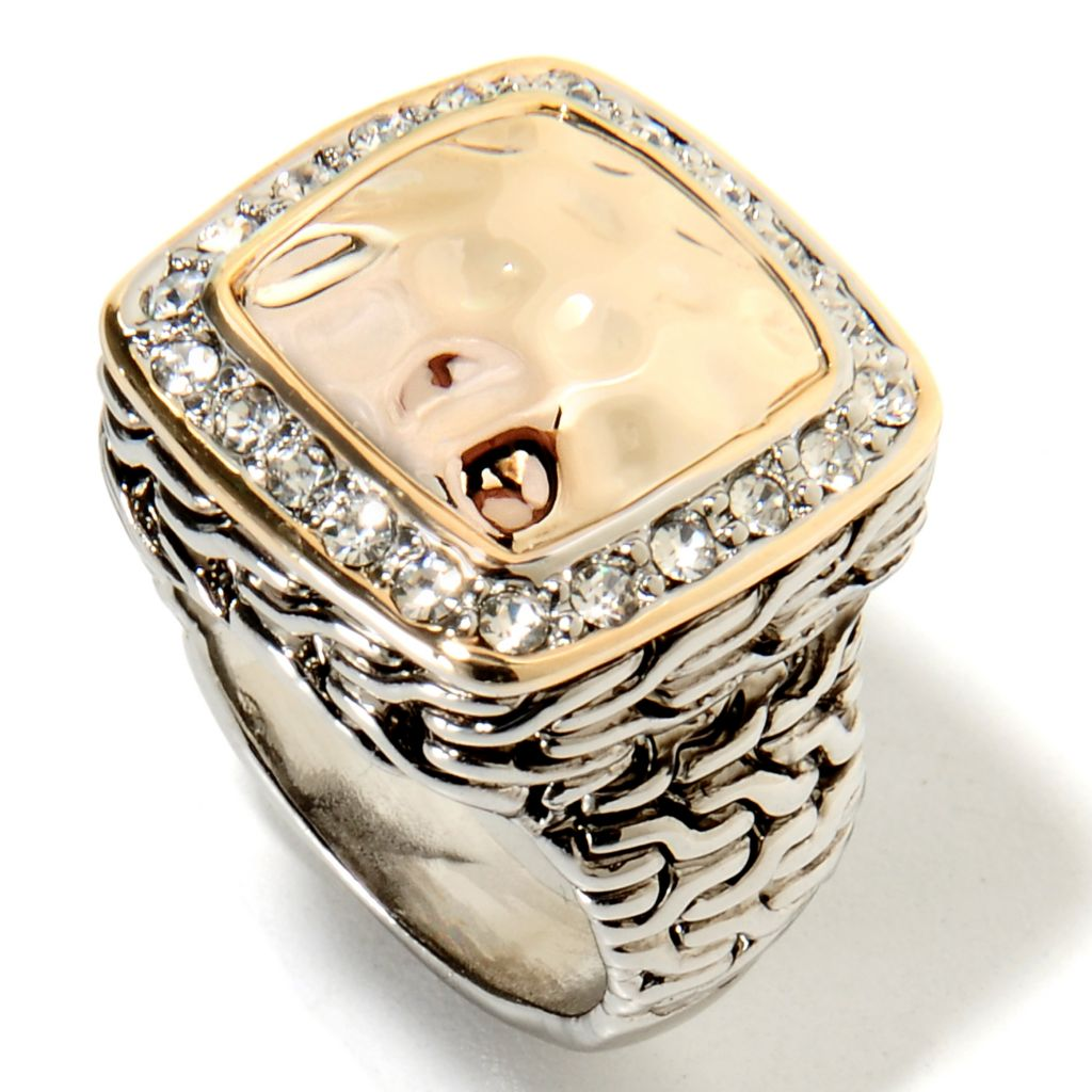 135-040 - Belle Artique™ Two-tone Crystal Hammered & Textured Ring