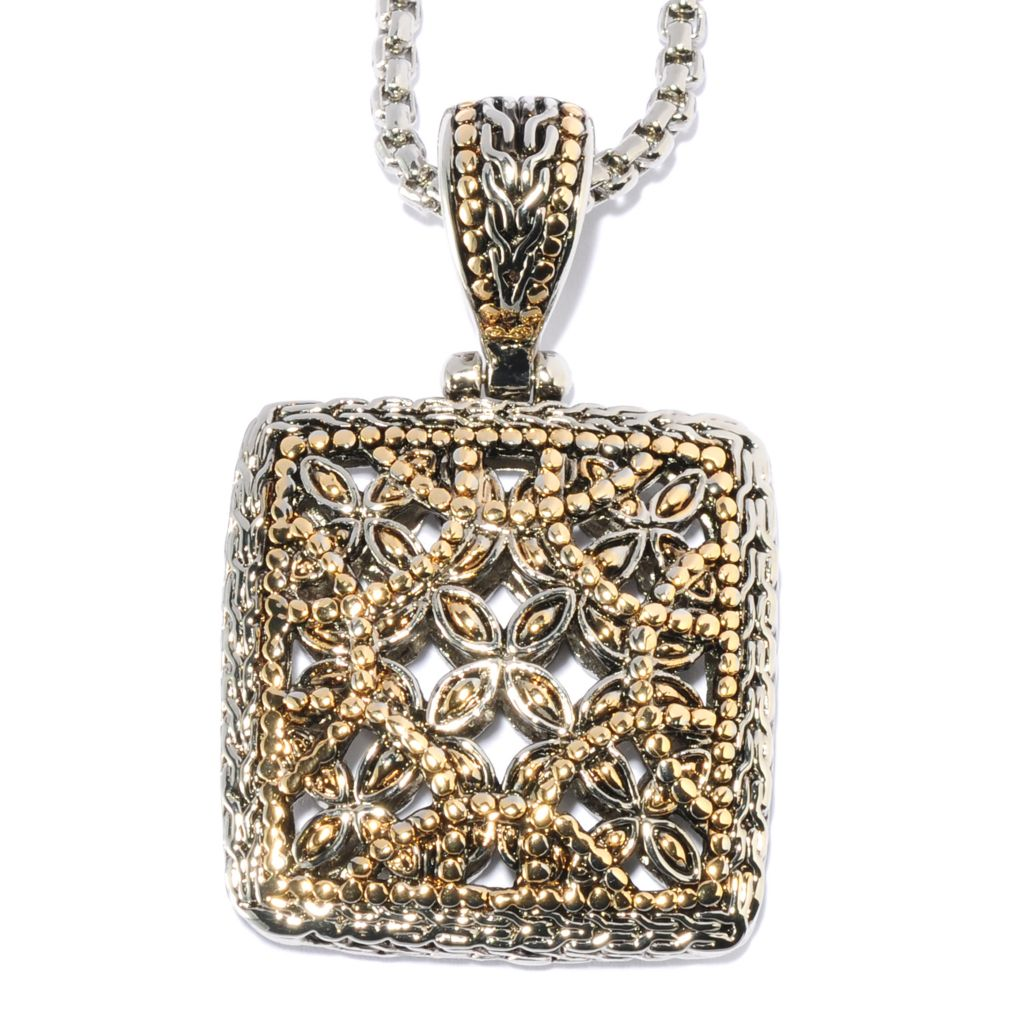 "135-060 - Belle Artique™ Two-tone Floral Textured Square Pendant w/ 16.5"" Chain"