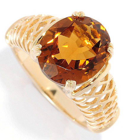 135-065 - Gem Treasures 14K Gold 3.50ctw Whiskey Quartz Solitaire Openwork Ring