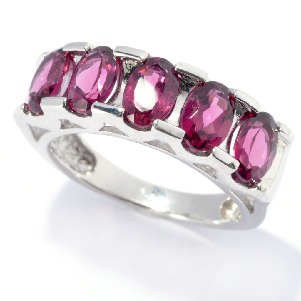 135-066 - Gem Treasures Sterling Silver 2.55ctw Tension Set Rhodolite Five-Stone Ring