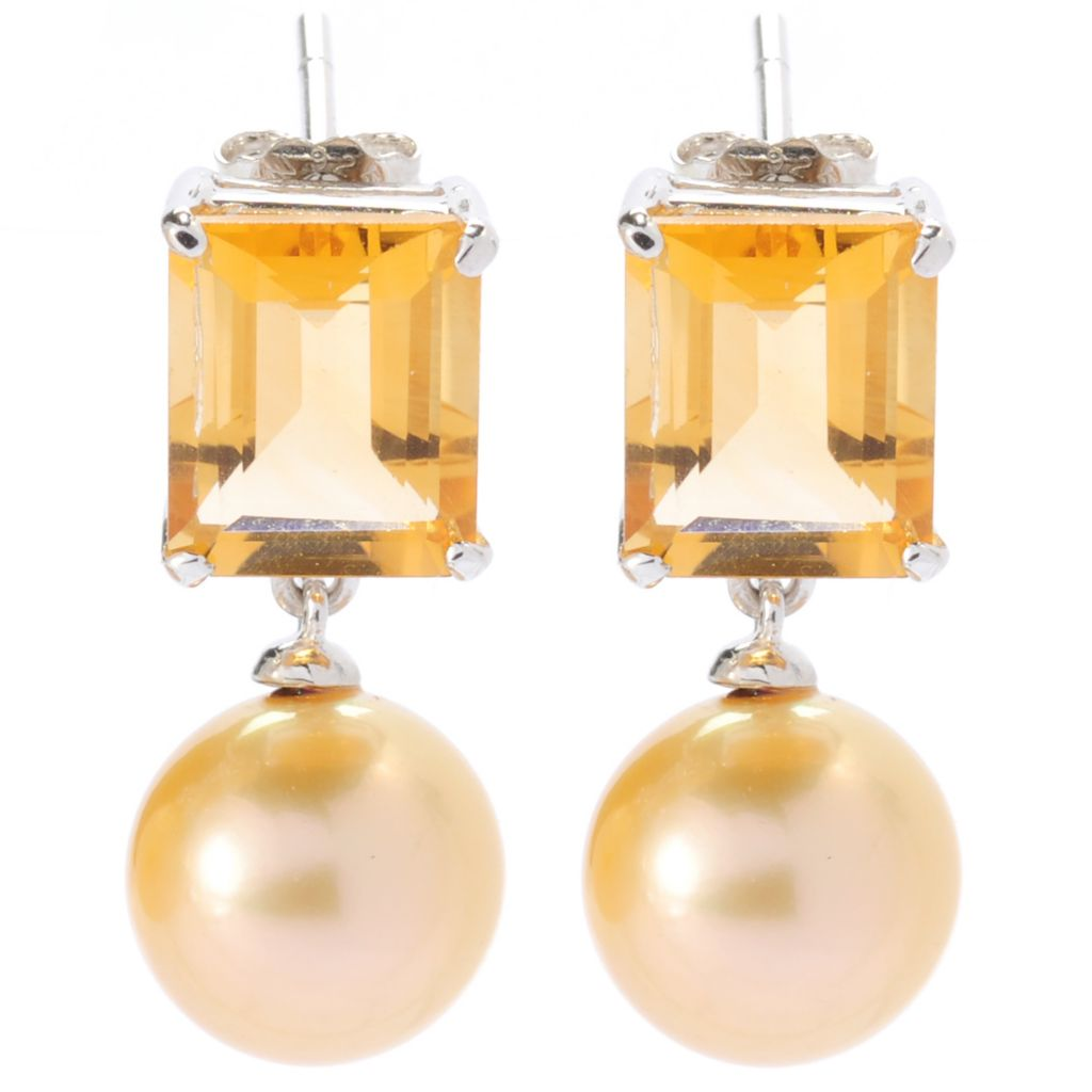 """135-070 - Sterling Silver 1"""" 10-11mm South Sea Cultured Pearl & Citrine Drop Earrings"""