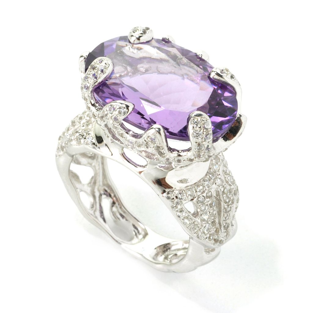 135-080 - Gem Treasures Sterling Silver 12.45ctw Amethyst & White Zircon Abstract Ring