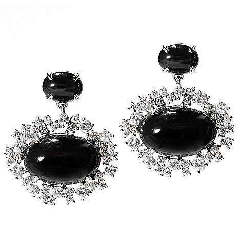 135-082 - Gem Treasures Sterling Silver 1'' 17 x 12mm Star Diopside & White Zircon Earrings