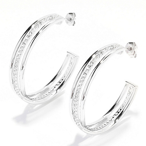 135-084 - Gem Treasures Sterling Silver 1.5'' 1.50ctw Gemstone Crossover Hoop Earrings