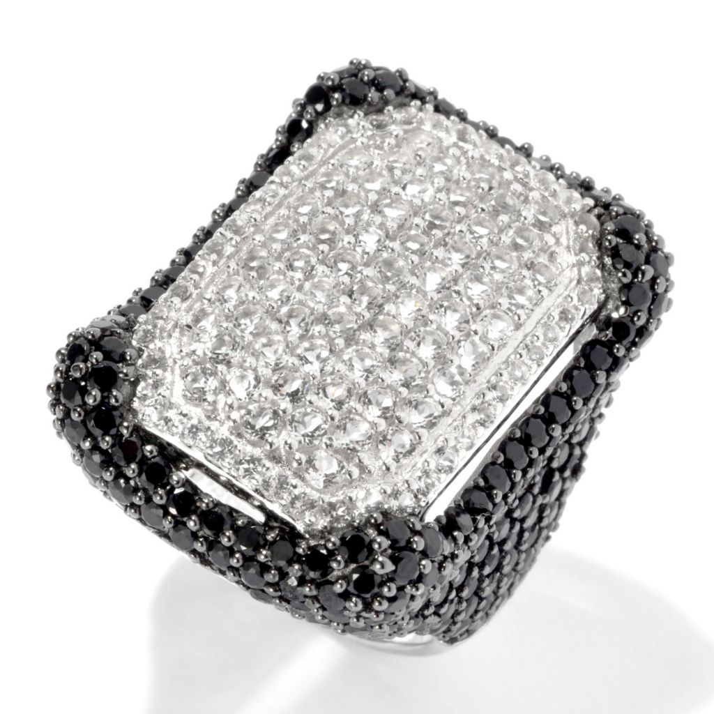 135-086 - Gem Treasures Sterling Silver 6.45ctw Spinel & White Topaz Frame Ring