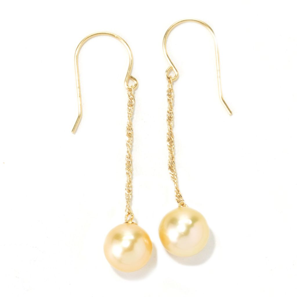 "135-088 - 9-10mm Round Golden South Sea Cultured Pearl 2"" Dangle Earrings"
