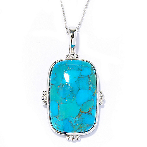 135-117 - Gem Insider™ Sterling Silver 28 x 18mm Cushion Shaped Turquoise Pendant w/ Chain