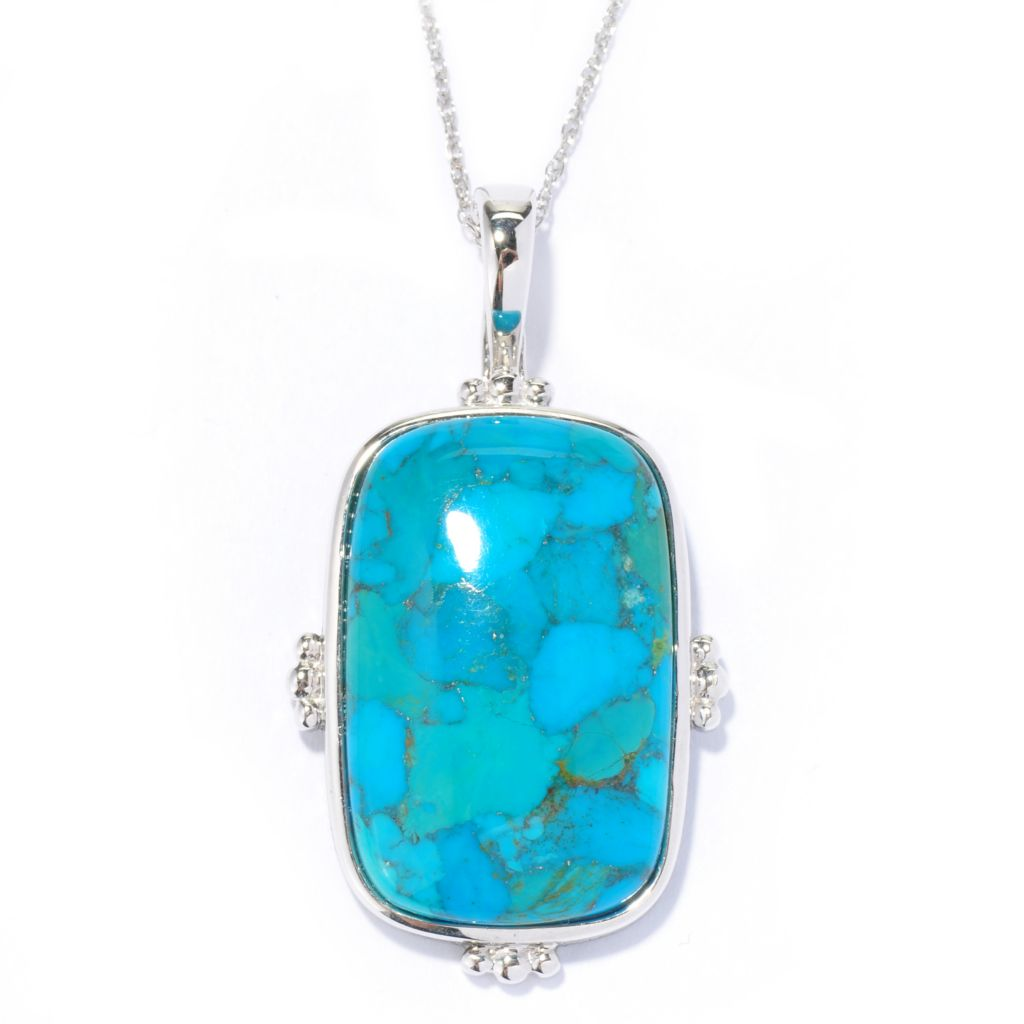 135-117 - Gem Insider Sterling Silver 28 x 18mm Cushion Shaped Turquoise Pendant w/ Chain