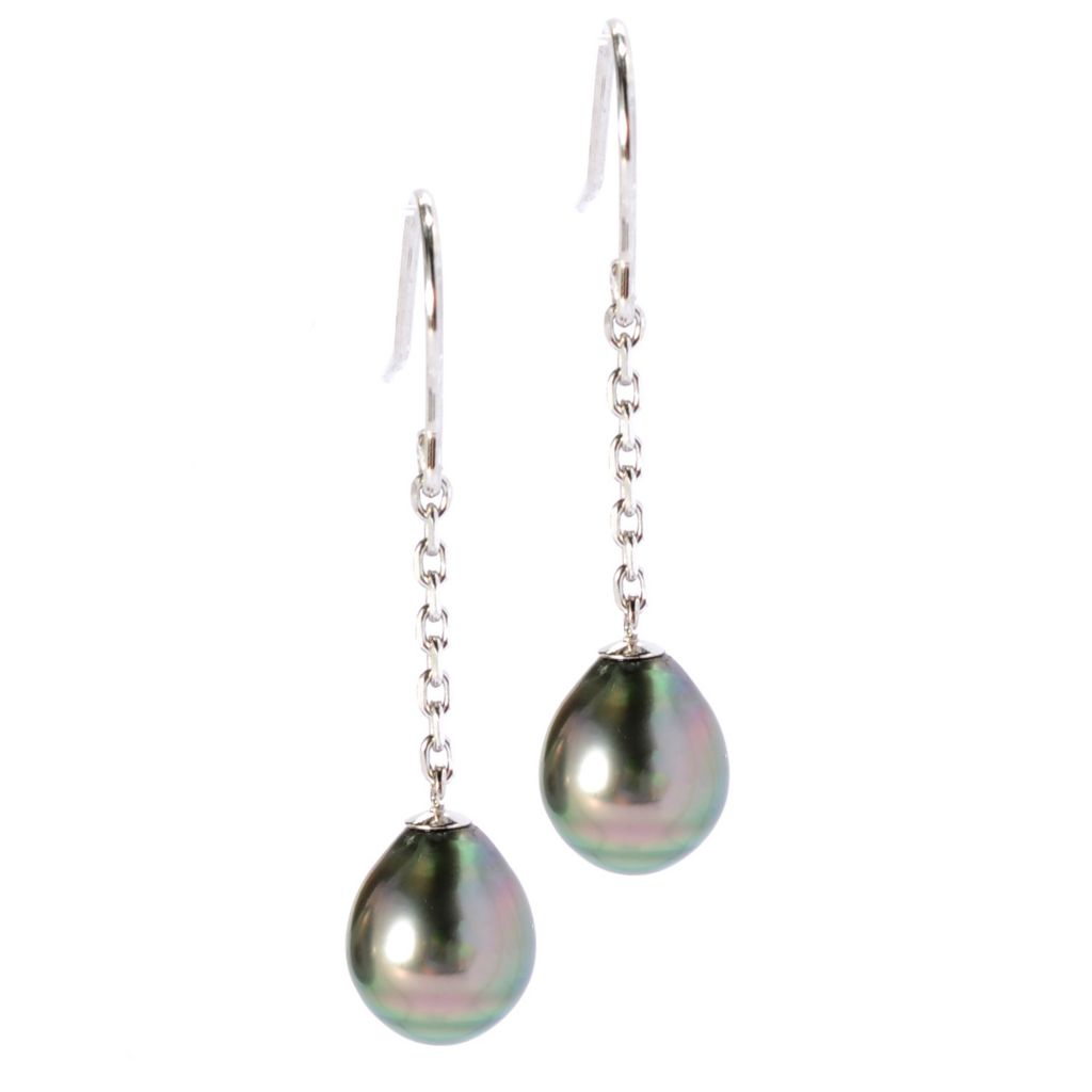 "135-122 - Sterling Silver 1.5"" 8-9mm Black Tahitian Cultured Pearl Dangle Earrings"