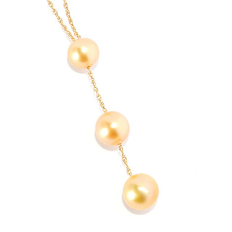 135-123 - 8-9mm Round Golden South Sea Cultured Pearl 17'' Drop Necklace
