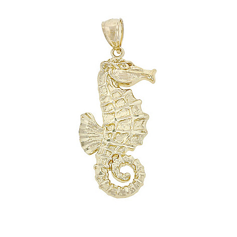 135-171 - Charm America 14K Yellow Gold Sculptural Seahorse Pendant