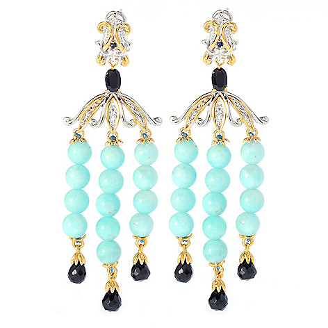 135-182 - Gems en Vogue II 3'' Gemstone Bead Chandelier Earrings