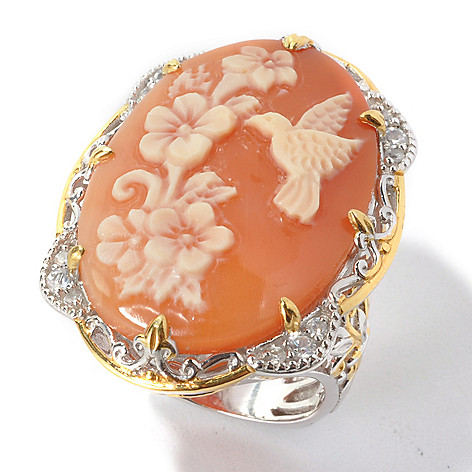 135-183 - Gems en Vogue II 30 x 20mm Carved Shell Hummingbird Cameo & White Zircon Ring