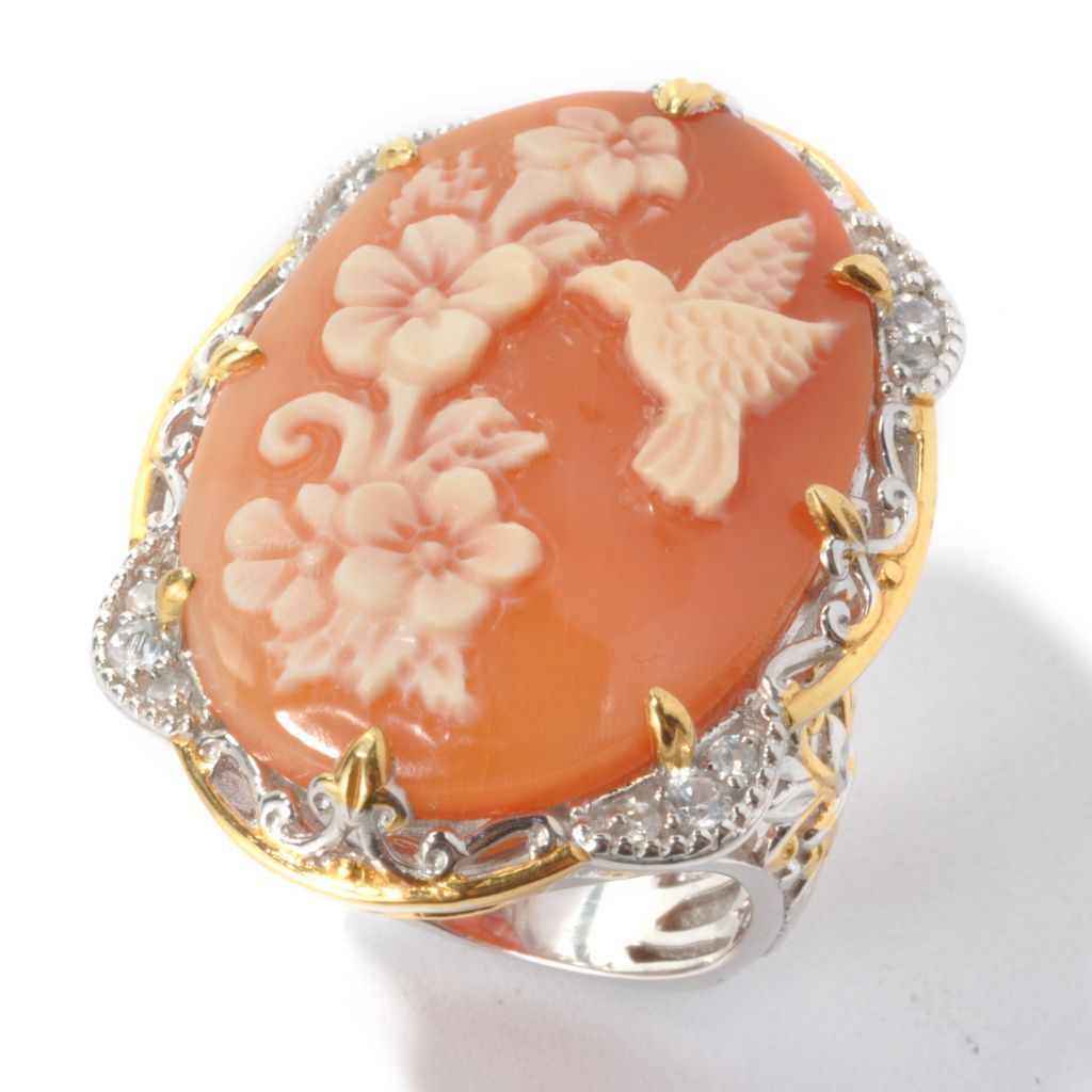 135-183 - Gems en Vogue 30 x 20mm Carved Shell Hummingbird Cameo & White Zircon Ring