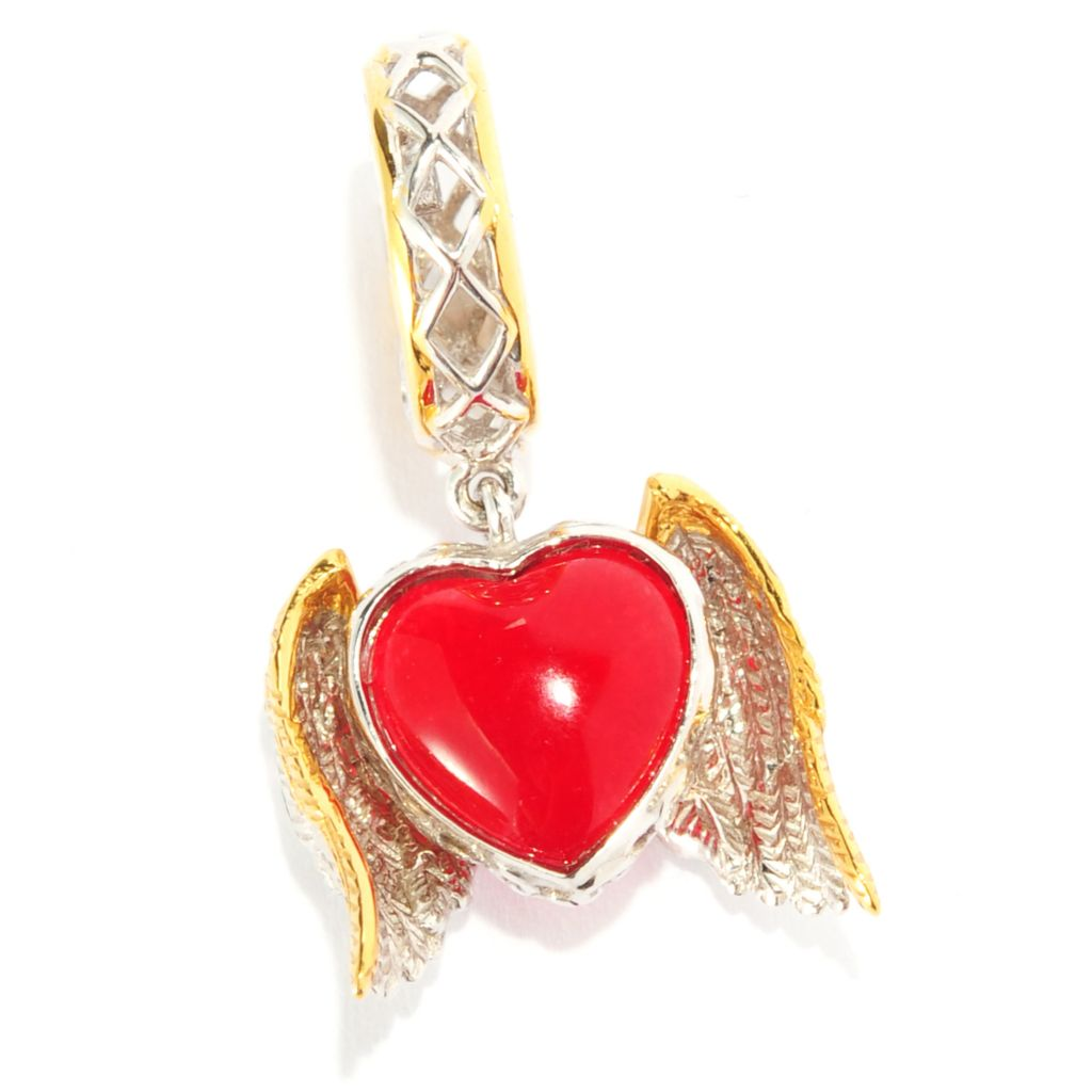 135-187 - Gems en Vogue II Red Chalcedony Heart & Angel Wings Drop Charm